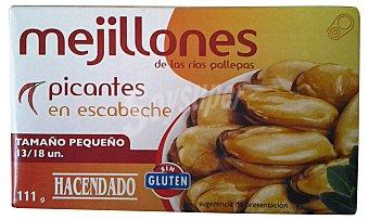 Hacendado Mejillon escabeche picante 13/18 piezas pequeños Lata 111 g