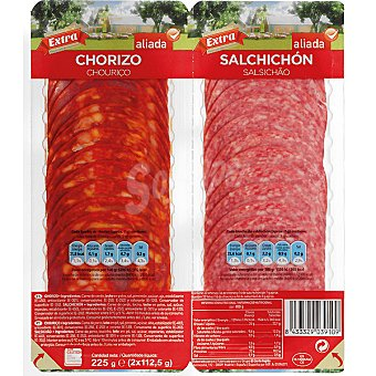 Aliada Chorizo vela + salchichón pack 2 x 112,5 g envase 225 g Pack 2 x 112,5 g