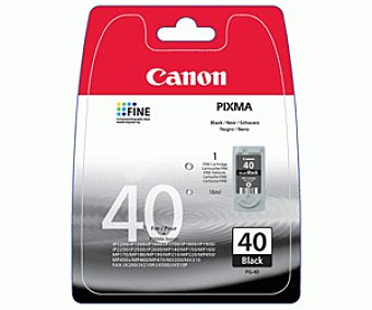 Canon Cartucho Negro PG-40 - Compatible con Impresoras: IP / 1600 / 1900 / 2200 / 1200 / 1300 / 1700 / 2600 JX / 200 / 500 MP / 150 / 160 / 170 / 180 / 450 / 460 / 210 / 220 / 140 MX / 300 / 310