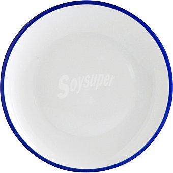LUMINARC  Colortronic Plato Llano de porcelana en color blanco con filo azul 25 cm 1 Unidad