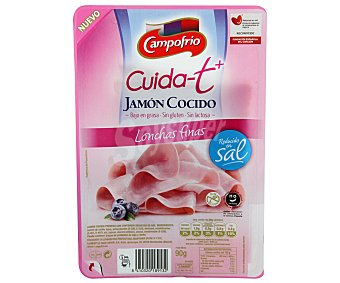 Campofrío Jamón cocido en finas lonchas, reducido en sal, Cuida-t+ 90 Gramos