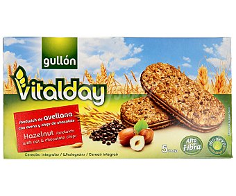 Gullón Galletas Vitalday, sándwich de avellana con avena y chips de chocolate 220 g