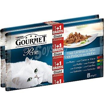 Gourmet Purina Surtido de finas láminas en salsa para gato Perle + 1 pack gratis pack 4 bolsa 85 g