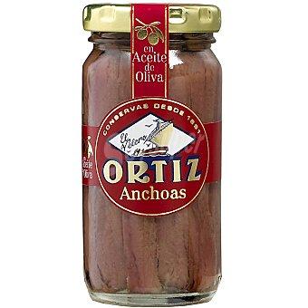 Conservas Ortiz Filetes de anchoa del Cantábrico en aceite de oliva Frasco 55 g neto escurrido