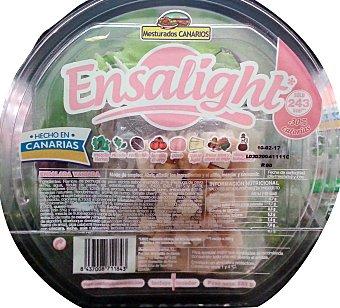 MESTURADOS CANARIOS Ensalada ensalight (mezcla brotes tiernos, rucula, radicchio, tomate cherry, pavo, queso light, frutos secos y vinagreta balsamica) Tarrina de 232 g