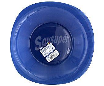 LUMINARC Plato hondo modelo Carina Colors de 20.5 centímetros, fabricado en vidrio templado de color azul y diseño cuadrado con bordes redondeados 1 Unidad