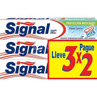 Signal Pasta de dientes protección anticaries flúor y calcio Pack 3 tubo 75 ml