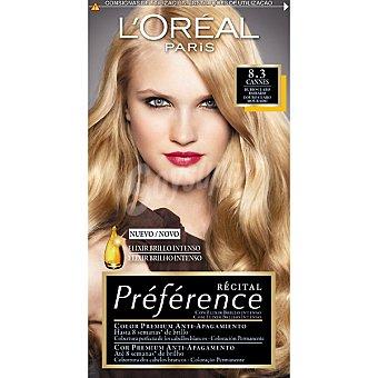 Preference L'Oréal Paris Tinte rubio claro dorado nº 8.3 Cannes con elixir brillo intenso coloración permanente Caja 1 unidad