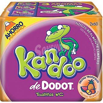 Kandoo Toallitas infantiles aroma a frutas tropicales Pack 2 envases 60 unidades