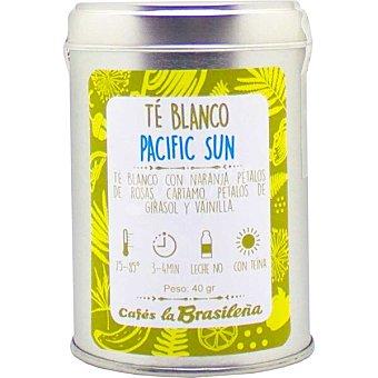La Brasileña Pacific Sun té blanco con naranja, rosas, cártamo girasol y vainilla con teína lata 40 G Lata 40 g