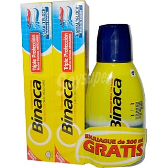 Binaca Pasta dentífrica triple protección + regalo elixir frasco 300 ml Pack 2 tubo 75 ml