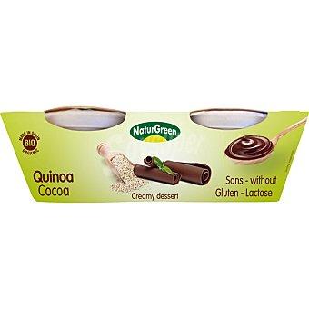 Naturgreen postre cremoso de quinoa y cacao sin gluten sin lactosa ecológico estuche 250 g 2x125g