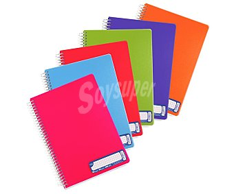 Grafoplás Cuaderno A5 con cuadricula de 4 milímetros, 80 hojas de , tapas de polipropileno y encuadenación con espiral metálica grafoplas 90 gramos