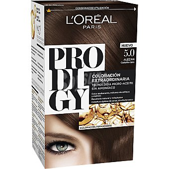 Prodigy L'Oréal Paris Tinte Alezan Castaño claro nº 5.0 coloración extraordinaria caja 1 unidad tecnología micro-aceite sin amoniaco Caja 1 unidad