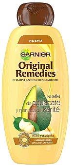 Garnier Champú antiencrespamiento con aceite de aguacate y manteca de karité para cabello rebelde y difícil de controlar frasco 400 ml
