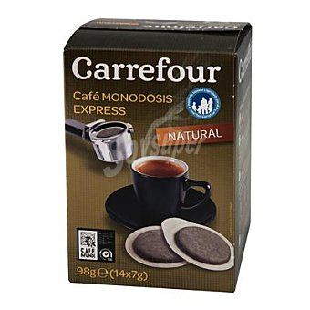 Carrefour Café molido natural monodosis para cafetera express 98 g