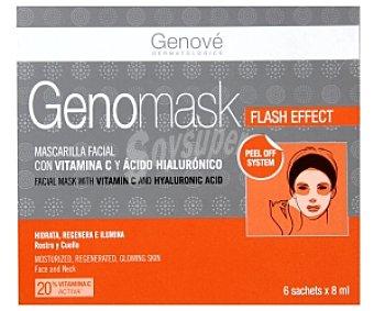 GENOMASK Mascarilla facial con Vitamina C y ácido hialurónico, hidrata, regenera e ilumina rostro y cuello 6 Sobres de 8 Mililitros