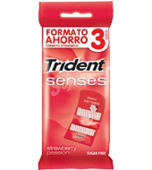 Trident Chicles senses fresa 3 cajas con 24 unidades