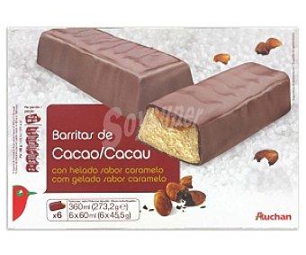 Auchan Barritas de chocolate rellenas de helado con sabor caramelo 6 Unidades de 60 Mililitros