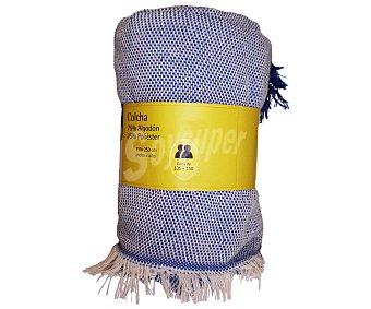 Productos Económicos Alcampo Colcha lisa color azul para cama doble, 250x250 centímetros 1 unidad