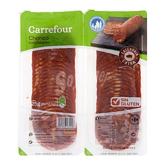Carrefour Chorizo extra en lonchas - Sin Gluten Pack de 2 sobres de 112,5 g