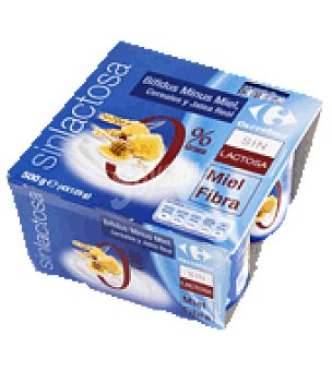 Carrefour Yogur bifidus Minus miel/fibra 0% Pack de 4x125 g