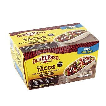 Old El Paso Kit para tacos (8 barquitas mexicanas, un sazonador y 1 salsa) Estuche 345 g
