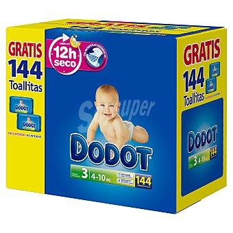 Dodot Pañales talla 3 para niños de 4-10 kilogramos + toallitas 144 unidades 144 unidades + 144 toallitas