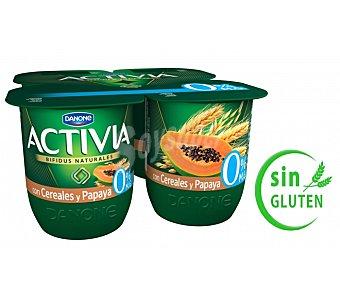 Activia Danone Yogur desnatado de papaya Pack 4x125 g