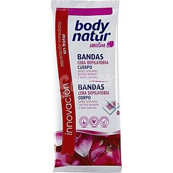 BODY NATUR Sensitive Bandas depilatorias de cera para cuerpo a la rosa mosqueta y aceites esenciales para pieles sensibles Caja 16 unidades