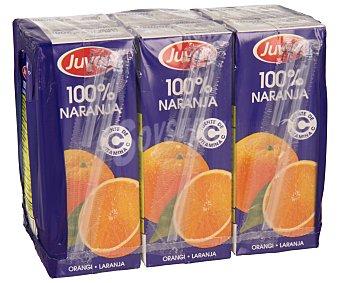 JUVER Zumo de naranja 100% pack 6 unidades de 200 mililitros
