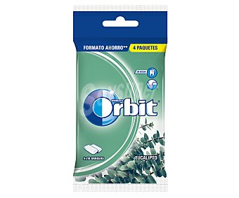 Orbit Chicle sin azúcar con sabor a eucalipto Pack 4 paquetes x 10 u