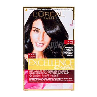 Excellence L'Oréal Paris Tinte negro nº 1 crema color triple cuidado caja con Pro-keratina + Ceramida + Ionene G 1 unidad