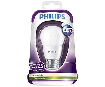 Philips Bombilla led esférica 3 W, con casquillo E27 (grueso) y luz cálida philips.