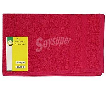 Productos Económicos Alcampo Toalla 100% algodón color rosa fucsia para tocador, densidad de 360 gramos/m², 30x50 centímetros 1 unidad