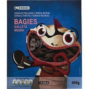 Eroski Bagies rellenos de galleta negra Caja 450 g