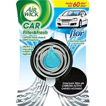 Air Wick Ambientador de coche Lirio del amazonas aparato + recambio con filtro de carbono activo 1 ud