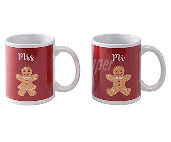 ACTUEL Happy Moments Set 2 tazas de 0,32 l. color rojo y diseño de galletas, happy moments actuel. 0,32 l.