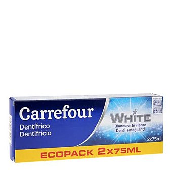 Carrefour Dentifrico blanqueador Pack 2x75 ml
