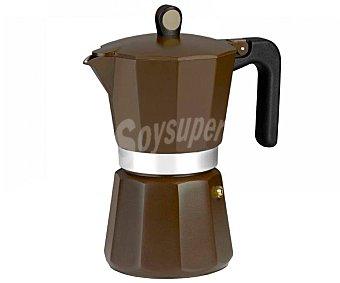 MONIX New Cream Cafetera 6 tazas apta para inducción, color marrón, New Cream monix.