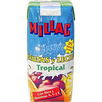 Millac Frutas y leche sabor tropical, 0% Materias Grasas con fibra y vitaminas A, C y E  envase 330 ml