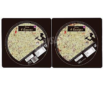 Auchan Pizza dúo cuatro quesos 2 unidades de 210 gramos