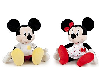 DISNEY Peluches de Minnie o Mickey con Camiseta Blanca, 56 Centimetros 1 Unidad