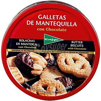 El Corte Inglés Galletas de mantequilla con chocolate Lata 400 g