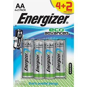 Energizer LR6 AA Pilas alcalinas Ecoadvanced blister 4 +2 unidades 4 +2 unidades