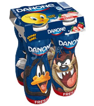Danone Yogur líquido de fresa Looney Toons pack de 4x160 g