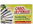 Sardinillas en aceite oliva con pimiento de padrón Lata 60 g (neto escurrido) Cabo de Peñas