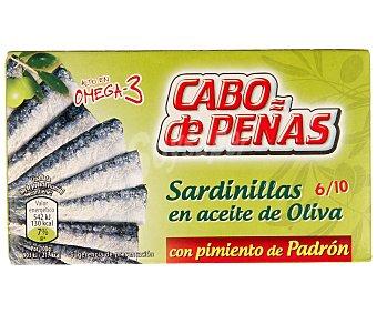 Cabo de Peñas Sardinillas en aceite oliva con pimiento de padrón Lata 60 g (neto escurrido)