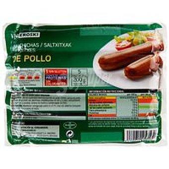Eroski Salchicha de pollo Sobre 200 g