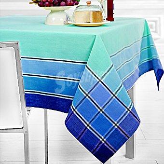 CASACTUAL Praga mantel jacquard rectangular en color azul 150 x 200 cm